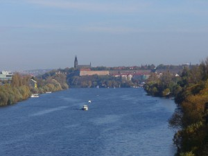 View of Vyšehrad fortress from Barrandov Bridge